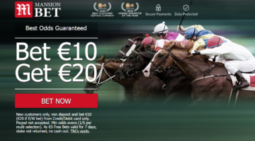 Mansion Bet go LIVE with 'Bet €10 Get €20' Free Bet Bonus